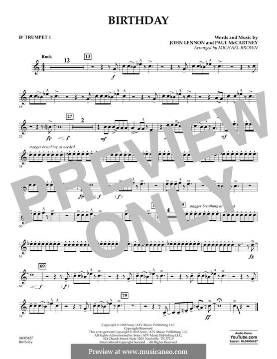 Birthday (Concert Band version): Bb Trumpet 1 part by John Lennon, Paul McCartney