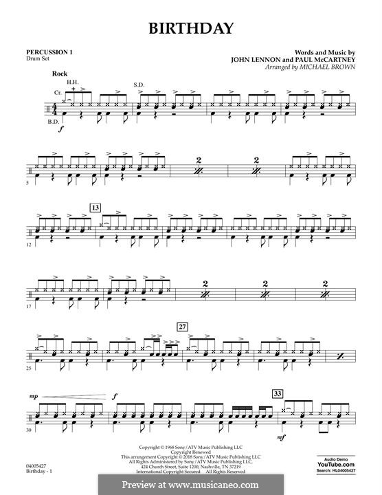Birthday (Concert Band version): Percussion 1 part by John Lennon, Paul McCartney