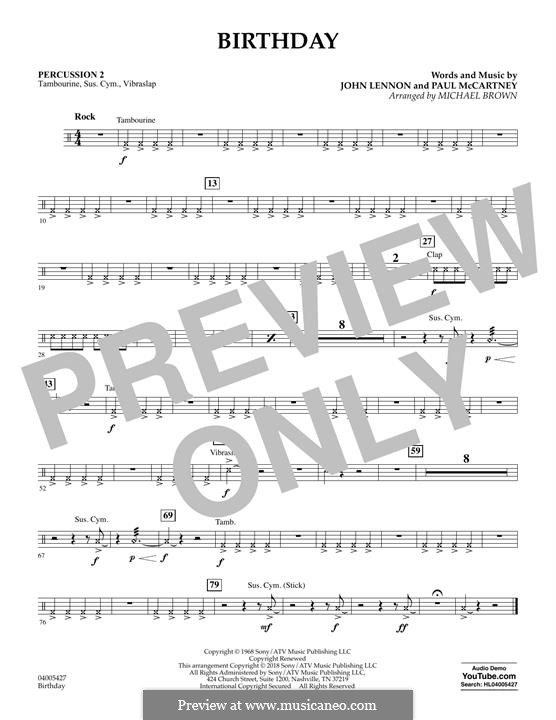 Birthday (Concert Band version): Percussion 2 part by John Lennon, Paul McCartney