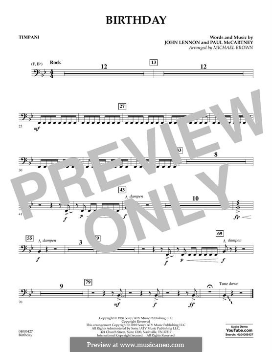 Birthday (Concert Band version): Peça para Timpano by John Lennon, Paul McCartney