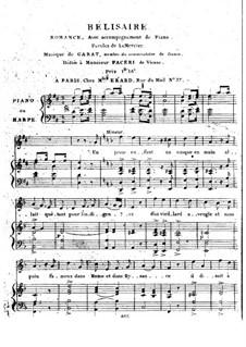 Belisarius. Romance for Voice and Piano (or Harp): Belisarius. Romance for Voice and Piano (or Harp) by Dominique-Pierre-Jean Garat