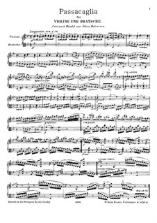 Passacaglia on Theme from Suite by G. Handel for Harpsichord: Arrangement for violin and viola by Johan Halvorsen