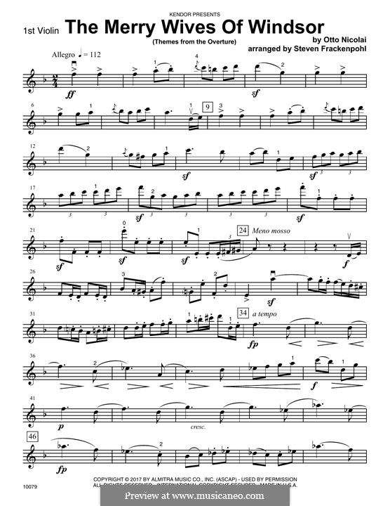 The Merry Wives of Windsor: Themes from The Overture – 1st Violin part by Otto Nicolai