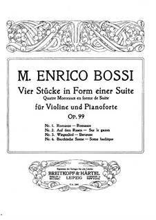 Four Pieces in the Form of Suite for Violin and Piano, Op.99: Score by Marco Enrico Bossi
