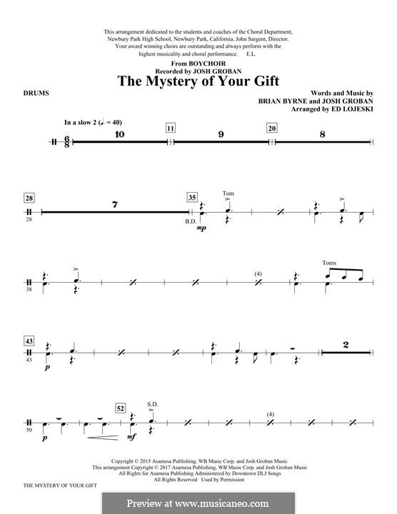 The Mystery of Your Gift: Drums part by Josh Groban, Brian Bryne