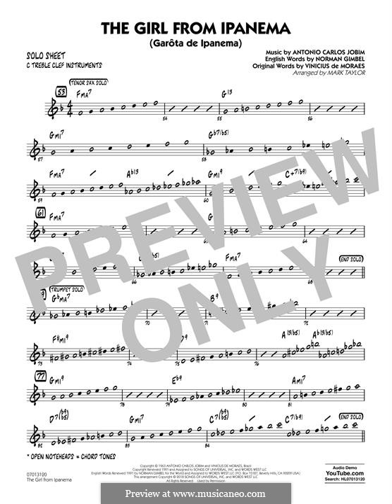 The Girl from Ipanema (Garota de Ipanema), for Orchestra: C Solo Sheet part by Antonio Carlos Jobim
