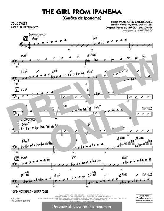 The Girl from Ipanema (Garota de Ipanema), for Orchestra: Bass Clef Solo Sheet part by Antonio Carlos Jobim