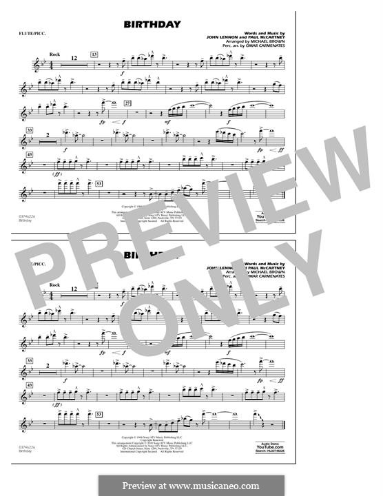 Birthday (Concert Band version): Flute/Piccolo part by John Lennon, Paul McCartney