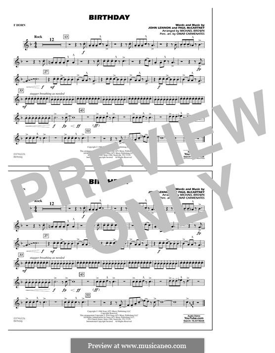 Birthday (Marching Band version): F Horn part by John Lennon, Paul McCartney