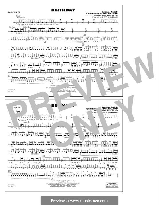 Birthday (Marching Band version): Snare Drum part by John Lennon, Paul McCartney