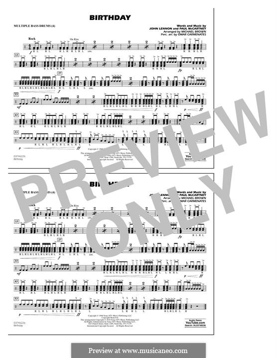 Birthday (Marching Band version): Multiple Bass Drums part by John Lennon, Paul McCartney