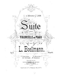 Suite for Cello and Piano, Op.6: Score by Léon Boëllmann