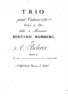 Trio for Violin, Viola and Cello, Op.15: parte viola by Antoine Bohrer