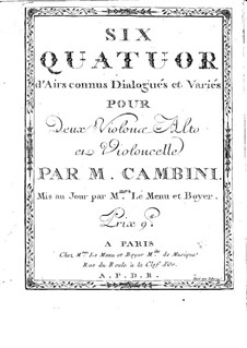 Six Quatuors d'Airs connus Dialogués et Variés: violino parte I by Giuseppe Maria Cambini