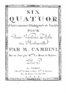 Six Quatuors d'Airs connus Dialogués et Variés: violino parte II by Giuseppe Maria Cambini