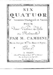 Six Quatuors d'Airs connus Dialogués et Variés: parte viola by Giuseppe Maria Cambini