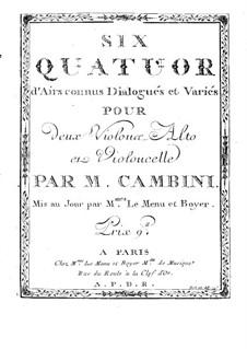 Six Quatuors d'Airs connus Dialogués et Variés: parte violoncelo by Giuseppe Maria Cambini