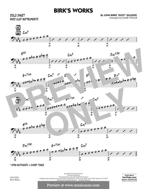 Birk's Works: Bass Clef Solo Sheet part by Dizzy Gillespie