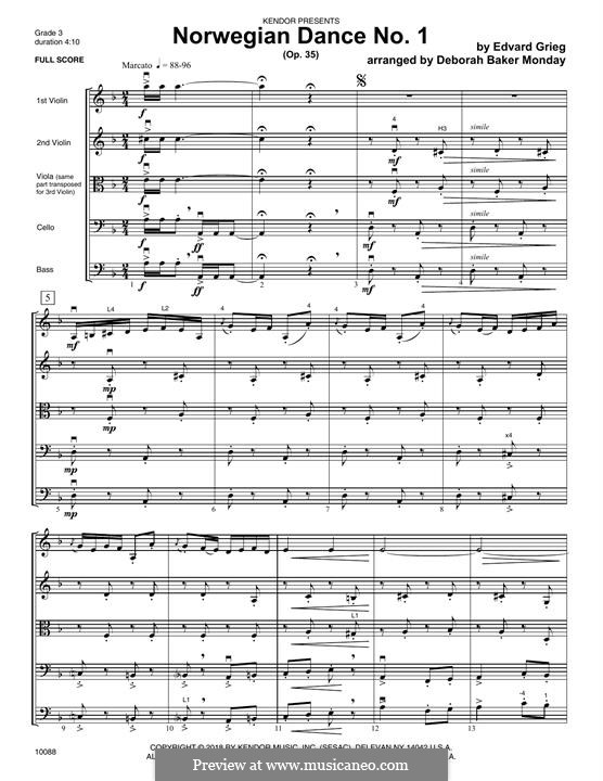 Four Norwegian Dances, Op.35: Dance No.1, for strings – Full Score by Edvard Grieg