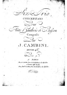 Six Concert Trios for Flute, Oboe and Bassoon, Op.45: Oboe (or flute) part by Giuseppe Maria Cambini