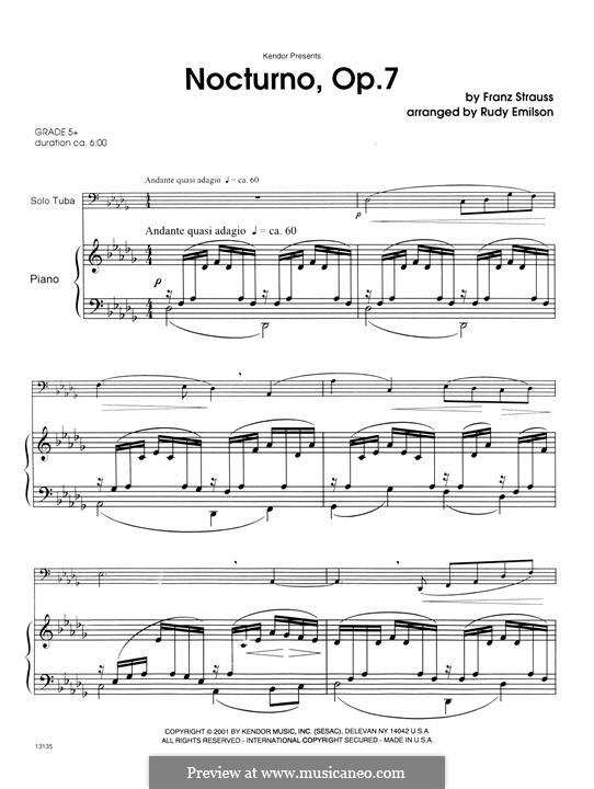 Nocturne for French Horn (or Cello) and Piano, Op.7: Version for tuba and piano – piano accompaniment by Franz Strauss
