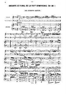 Symphony No.103 in E Flat Major 'Drum Roll', Hob.I/103: Movements II and IV, for violin, cello and piano by Joseph Haydn