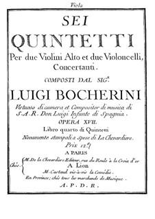Six Quintets for Strings, G.283-288 Op.18: Viola I parts by Luigi Boccherini