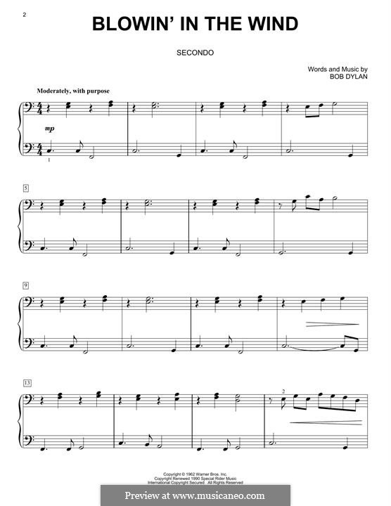 Blowin' in the Wind: Facil para o piano by Bob Dylan