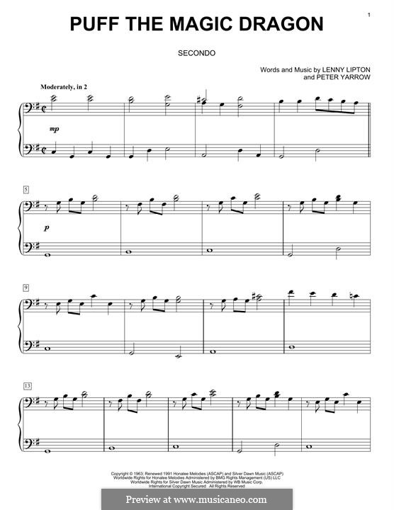 Puff the Magic Dragon (Peter, Paul & Mary): Para Piano by Lenny Lipton, Peter Yarrow