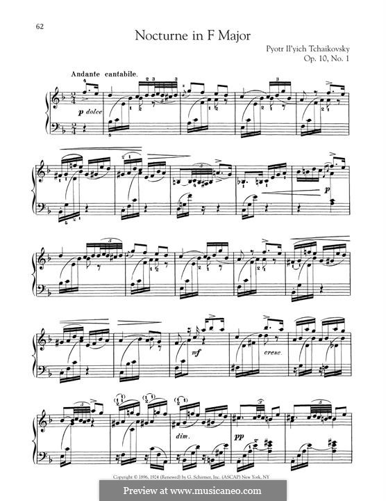 Two Pieces for Piano, TH 132 Op.10: No.1 Nocturne by Pyotr Tchaikovsky