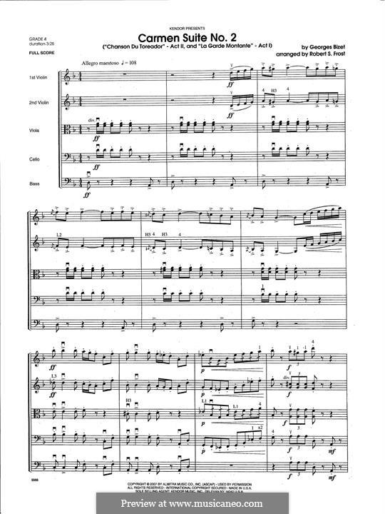 Second Suite: Chanson Du Toreador, La Garde Montante - Full Score by Georges Bizet