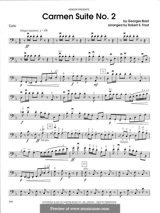 Second Suite: Chanson Du Toreador, La Garde Montante - Cello part by Georges Bizet