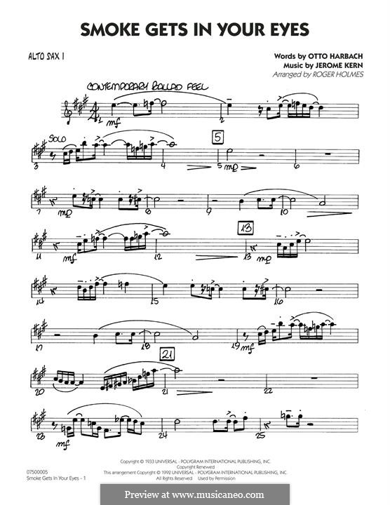 Smoke Gets in Your Eyes (arr. Roger Holmes): Alto Sax 1 part by Jerome Kern