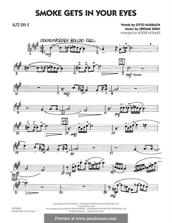 Smoke Gets in Your Eyes (arr. Roger Holmes): Alto Sax 2 part by Jerome Kern