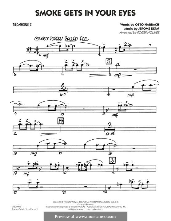 Smoke Gets in Your Eyes (arr. Roger Holmes): Trombone 2 part by Jerome Kern