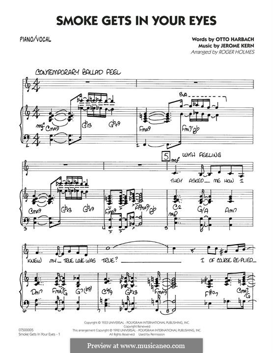 Smoke Gets in Your Eyes (arr. Roger Holmes): Piano/Vocal part by Jerome Kern