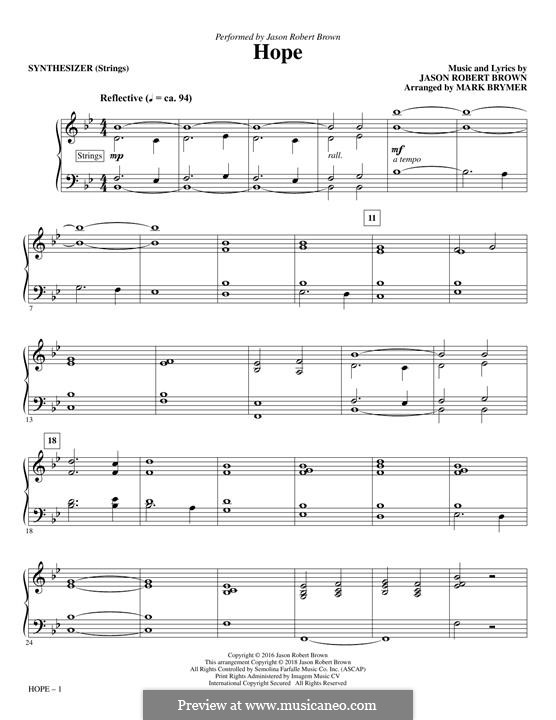 Hope (from How We React and How We Recover): Synthesizer part by Jason Robert Brown