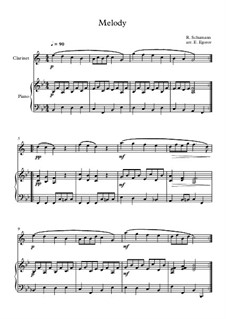 No.1 Melodie (Melody): para clarinete e piano by Robert Schumann