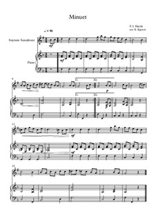 Minuet in F Major: For soprano saxophone and piano by Joseph Haydn