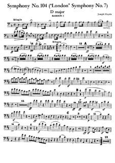 Symphony No.104 in D Major 'London', Hob.I/104: fagote parte I by Joseph Haydn