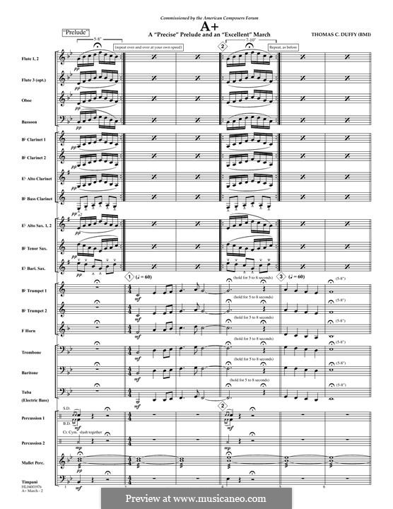 A+: A 'Precise' Prelude and an 'Excellent' March: partitura completa by Thomas Duffy