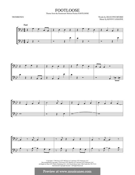Footloose: For two trombones by Kenny Loggins