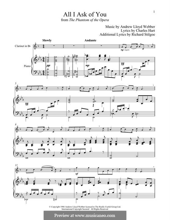 All I Ask of You: para clarinete e piano by Andrew Lloyd Webber