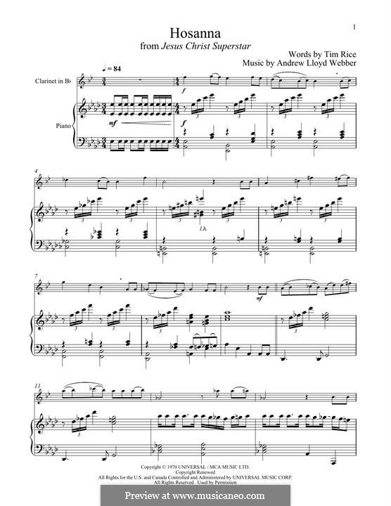 Hosanna (from Jesus Christ Superstar): para clarinete e piano by Andrew Lloyd Webber
