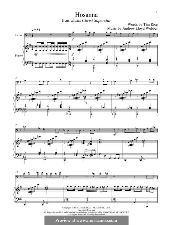 Hosanna (from Jesus Christ Superstar): para Violoncelo e piano by Andrew Lloyd Webber