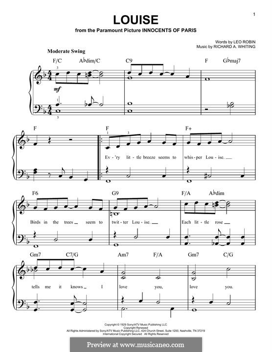 Louise: Para Piano by Richard A. Whiting