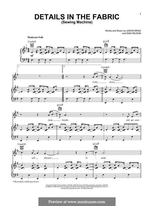 Details in the Fabric (Sewing Machine): Para vocais e piano (ou Guitarra) by Daniel Wilson