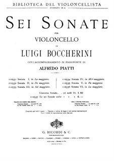 Sonata for Cello and Basso Continuo in G Major, G.5: versão para violoncelo e piano by Luigi Boccherini