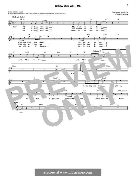 Grow Old With Me: para teclado by John Lennon