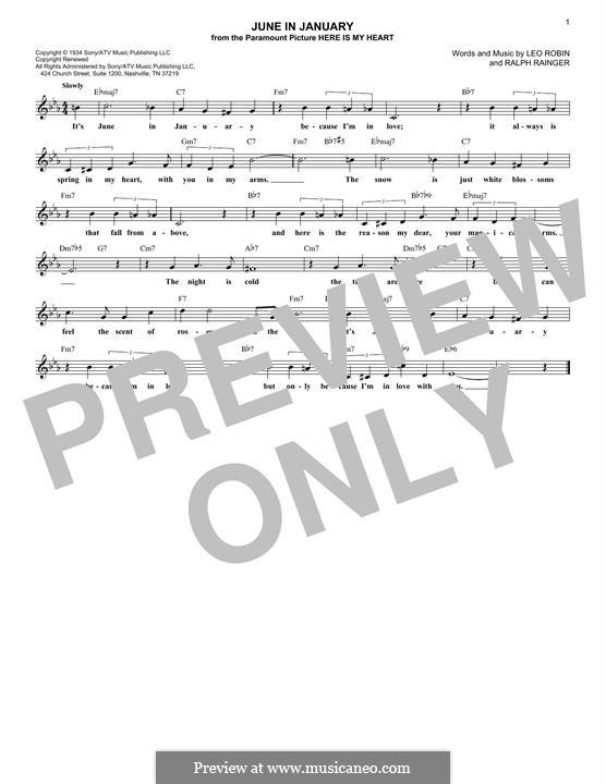 June in January: para teclado by Leo Robin, Ralph Rainger